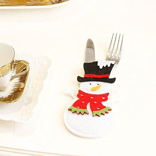 Rawdah* Couverture De Noël Dessin Animé Accessoire Bonhomme De Neige Couverture De Vaisselle Fourchette De Noël Set De Coutellerie De Noël