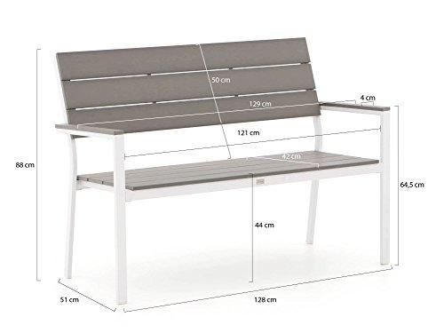 Bellagio Bravo Gartenbank 2 Sitzer 128 cm Weiß - 2
