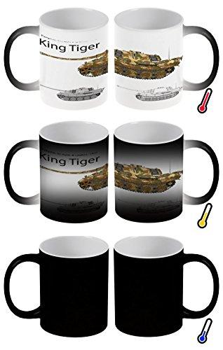 LEotiE SINCE 2004 Zaubertasse Farbwechseltasse Kaffeebecher Tasse Becher Latte Cappuccino Espresso Waffe Panzer Tiger