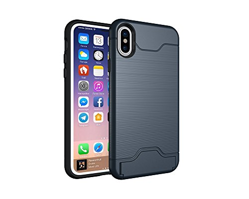 EKINHUI Case Cover Solid Color Brushed Pattern Dual Layer Shockproof Schutz mit eingebautem Kickstand und Card Slot für iPhone X ( Color : Black ) Blue