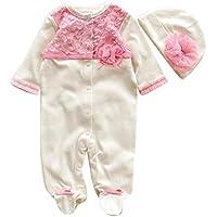 Bekleidung Longra Säugling neugeborenes Mädchen Mütze Hüte + Strampler Bodysuit Playsuit Kleidung Set Outfit Babykleidung(0-9Monate)