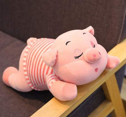 XXCKA Plush Toy Dolls Pigs Girls Holding Sleeping Dolls Cute Dolls Super Cute Funny Pillows 40Cm Pink Stripes 1Pcs