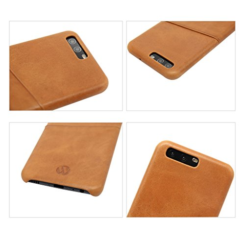 Huawei P10 Case Huawei P10 Leather Hülle Case Original Leather Thin Cover with Card Slots Brown68 # Browna-12