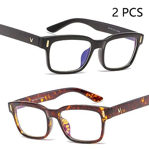 FZXHJ Neue Anti-Blau-Brille, Anti-Ermüdungs-Unisex-Anti-Strahlungs-Computerschutzbrille, Anti-UV-Meter-Nagel-Rahmen Flacher Spiegel,2+7 (Strahlung Trockene Auge-brille)