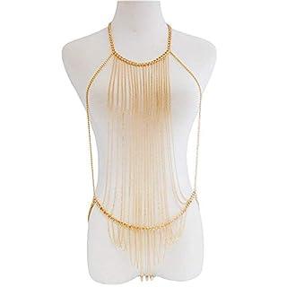 Körperkette Schmuck von Aolvo Bikini Cross Body Link Kette Taille Bauchnabel-Harness Frauen Ganzmetallkette Gold Schmuck Halskette