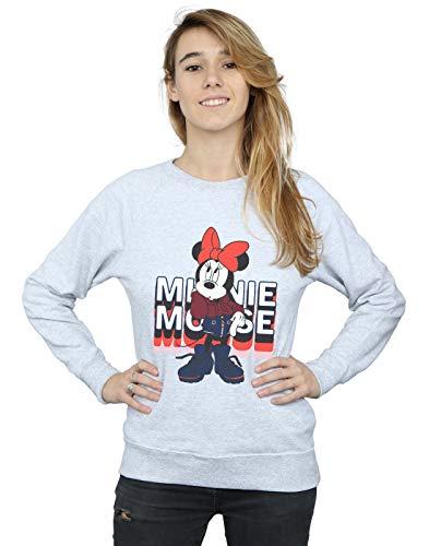 Disney Damen Minnie Mouse In Hoodie Sweatshirt Sport Grau Medium (Disney Sweatshirt Damen In)