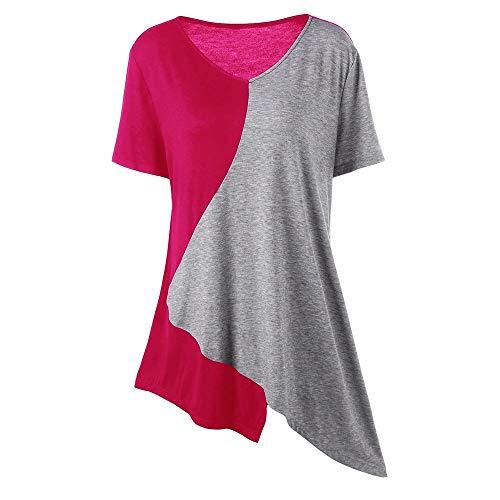 LOPILY Damen Bluse Tops Sommer Casual Patchwork Lose Bluse Hemd Pullover Shirt Übergröße Unregelmäßiger Saum Oberteil Bluse Shirt Freizeit Oberteile Tops(Hot Pink,EU-50/CN-5XL)