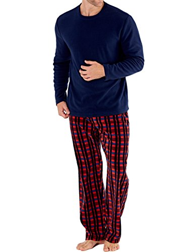 Herren Harvey James Thermo Top, Polar Fleece Hose Warm Pyjama Sets Burgund