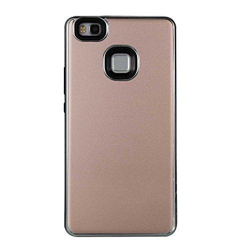 Cover Huawei P9 Lite, Alfort 2 in 1 Custodia Protettiva Placcatura Scrub Shell Alta Qualità Case PC + TPU Moda Semplice ( Nero ) 5,2 pollici Oro rosa