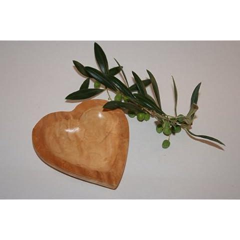 GM-Porta anelli a forma di cuore, in legno d