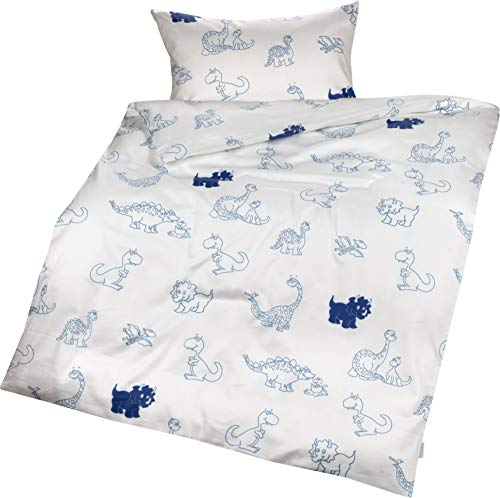 Lorenchen/Lorena Mako-Satin Kinderbettwäsche Dinosaurier in rot oder blau 100% Baumwolle (135 x 200 cm + 80 x 80 cm, Blau)
