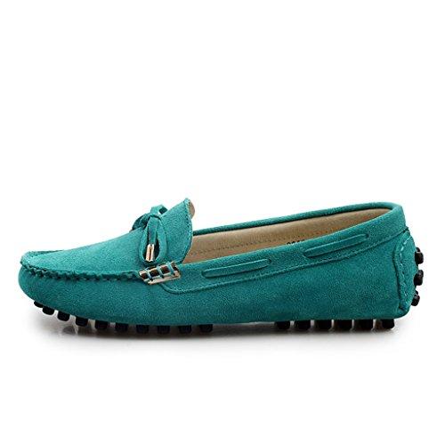 Minitoo femmes Chaussettes à orteils arrondis en métal fin de conduite de bateaux Loafers en daim plates pour chaussures Bleu - bleu