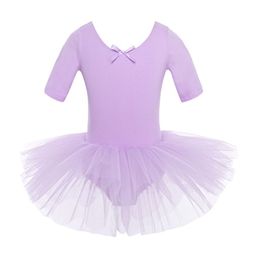 iEFiEL Mädchen Ballettkleid, Kinder Ballettanzug Tütü Ballett Trikot Turnanzug Kurzarm Ballettkleid mit Röckchen Lila 128-140 (Lila Tutu Kostüm)