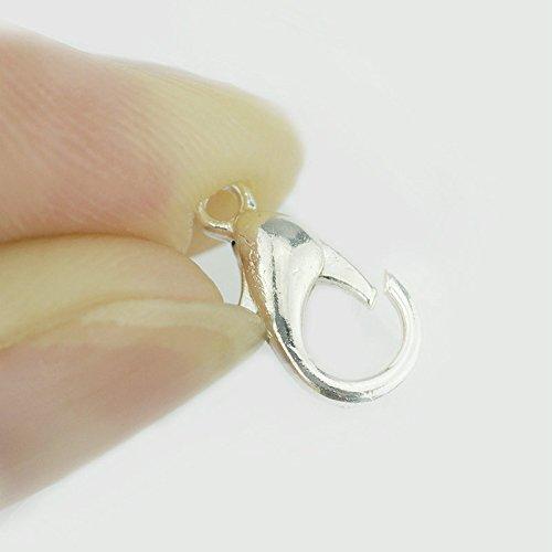comprare on line Westeng 100 pezzi argento a Moschettone, progettato come Portachiavi gioielli gancio 12 * 6 mm prezzo