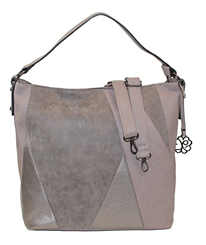 Glüxklee Damen Handtasche Damentasche Shopper dekorative Front Patchwork-Optik (taupe) (Patchwork-shopper)