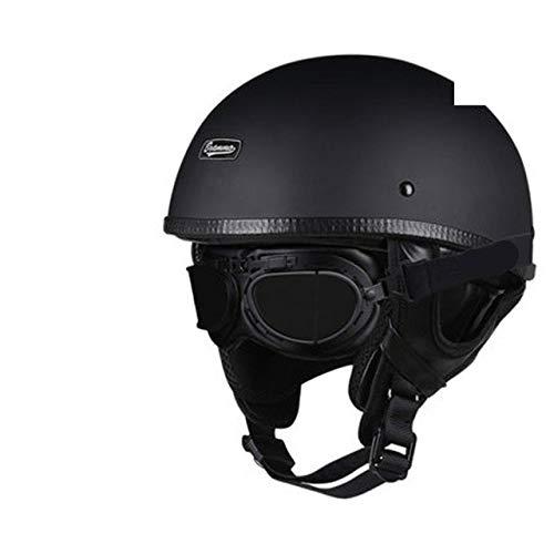 Berrd Casco moto Retro mezzo casco Casco retro stile tedescoCruiser nero lucido occhiali M