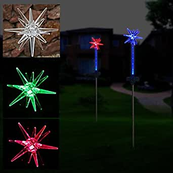 2 led solar powered star flexible garden stake light color changing lighting for Solar garden stakes color changing