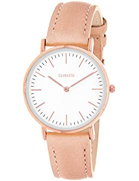 Lucardi - CLUELESS - Clueless horloge met roze leren band für Damen - Edelstahl