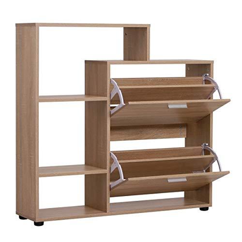 Nuofake Schuhschrank Schuhregal Schuhkipper Schuhkommode 2 Klappen 20 Schuhe Holz Natur 101,5 X 25,5 X 98 cm The Essential