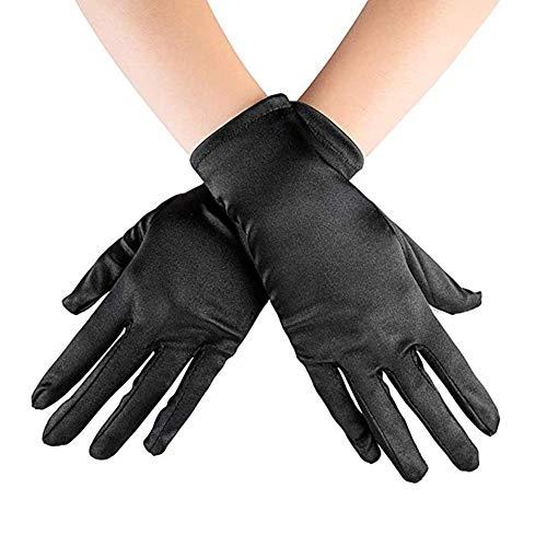 Ruiuzi Kurze Satin Handschuhe Handgelenk Länge Handschuhe Frauen Kleid Handschuhe Oper Hochzeit Bankett Kleid Handschuh für Party Dance (schwarz, 22cm)