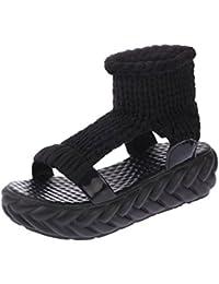 Sandalias mujer, ❤️ Manadlian Sandalias de mujer Zapatos de verano En la plataforma Gladiadores Zapatos de mujer Parte inferior del pan (CN:37, Negro)