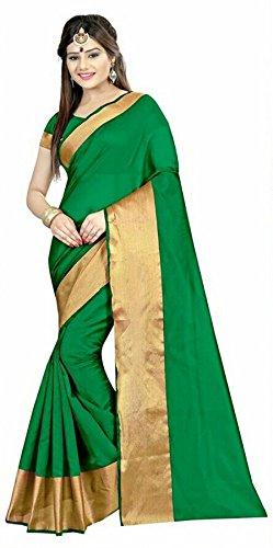 GANGA Divya Green Cotton Silk Saree