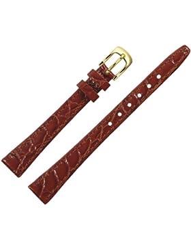 Uhrenarmband 12mm Leder rot-braun Prägung, Kroko, mit Naht - inkl. Federstege & Werkzeug - Lederarmband für Uhren...