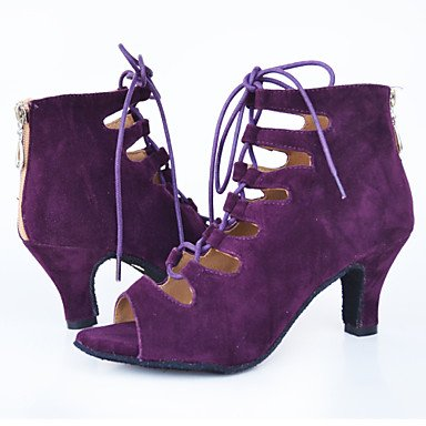 XIAMUO Nicht anpassbar - Die Frauen tanzen Schuhe Leder Leder Latin/Moderne Turnschuhe Ferse Praxis Blau