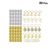 ‏‪Lurrose 80pcs Hair Braid Rings Hair Jewelry Rings Decorations Pendants Hair Accessories‬‏
