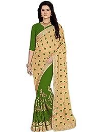 Vastrang Sarees Georgette Saree(5455MHD_Green_Free Size)