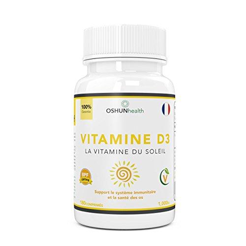 Comprimés de Vitamine D | Suppléments de vitamine D3 1000iu | Articulations et Os en bonne santé | Améliore le système immunitaire | 180 comprimés | Six mois d'approvisionnement