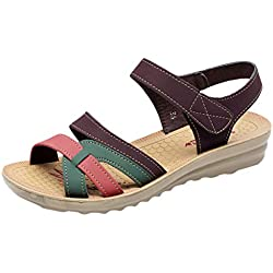 Femmes Sandales Compensees Ete Enceinte Pas Cher Confortables Mode Casual Grand Taille Fond Mou AntidéRapant Grand Taille Chaussure