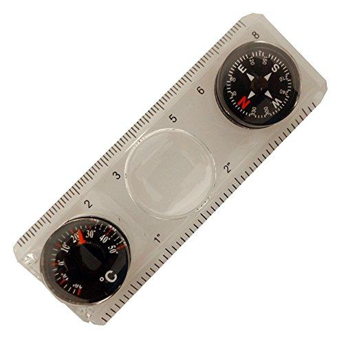 four-in-one Règle, compasss, thermomètre, et magnfier/règle est SAE et métrique : (Lot de 2 Pièces).