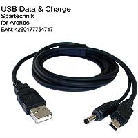 USB Sync- & Ladekabel - Datenkabel mit Ladefunktion für ARCHOS 204 704 705 AV400 Gmini 200i 204 402 400 SP xs 202 200 202s XS100... mit runder Ladebuchse