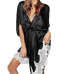 DOGZI Lencería Mujer Erotica Sexy Lencería Ropa de Dormir Mujer Seda Cordón Túnica Vestir Picardias Camisón Costura Albornoz Vestido de Noche Talla Grande Pijama S~3XL