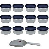 Viva-Haushaltswaren 12x Mini Gefrierdose, runde Tiefkühldose, BPA-frei je 100 ml Volumen inkl. einer Einfüllschaufel