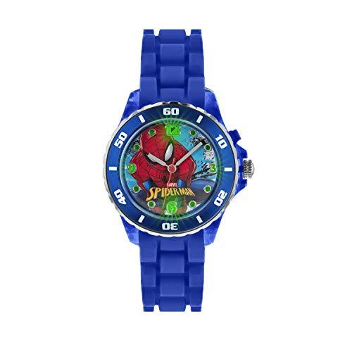 Spiderman Reloj Infantil de Cuarzo con Multicolor Esfera Analógica Pantalla y Correa de Caucho Azul...