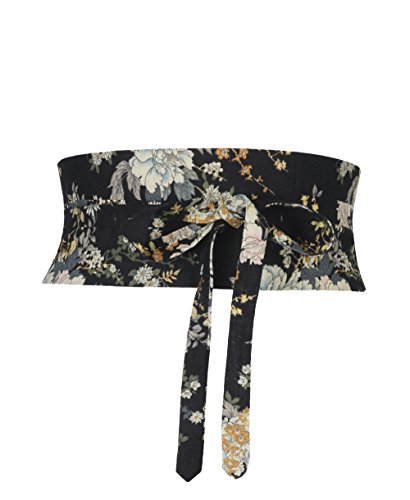 2457-BLK-OS: Floral Canvas Waist Obi Belt (Schwarz) (Floral Vintage-gürtel)