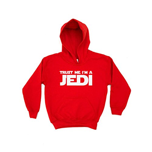 Image of Chilledworld - Trust Me I'm a Jedi | KIDS HOODIE Star Clothing Wars Gift Present Boys Girls, Red, S (5-6)