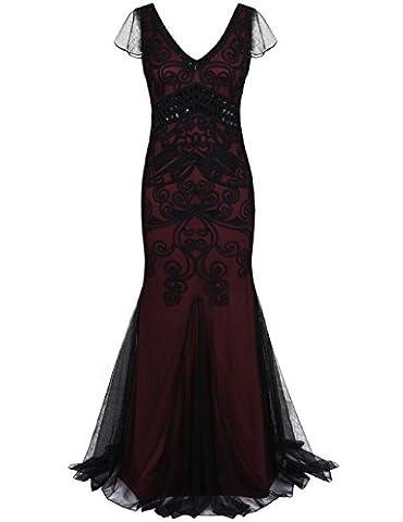 Kayamiya Damen 1920er Kleid Maxi Lange Meerjungfrau Formale Abend-Abschlussball-Kleid Mit Kurzer Hülse L Bourgogne