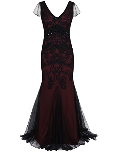 Kayamiya Damen 1920er Maxi Lange Meerjungfrau Formelle Gatsby Flapper Abendkleid S Burgund