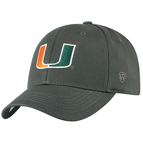 Top of the World Herren Mütze NCAA Fitted Charcoal Icon, Herren, NCAA Men's Fitted Hat Relaxed Fit Charcoal Icon, Miami Hurricanes Charcoal, Einstellbar (Miami Hurricanes Hat)