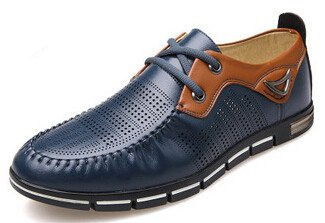 Men's Imitation Leather Moccasins Flat Oxford Shoes blue with hole