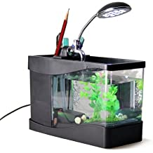 Mini Multi Función Pez Pecera Acuario LED Portalápices Escritorio Color Negro