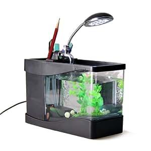 Mini acquario portapenne da scrivania con luce led ufficio - Portapenne da scrivania ...