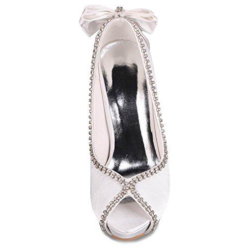 Minitoo TH13138 Damen High Heel Stiletto Glitzer Abstech Sexy Satin Abend Kleid Hochzeit-Sandalen Elfenbein