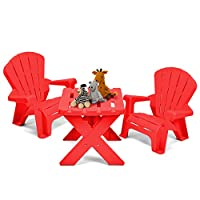 COSTWAY Kids Table Chair Set - Children Plastic Furniture with 1 Table & 2 Chairs for Eat, Learn, Read, Play, Draw in Nursery Garden Outdoor Indoor