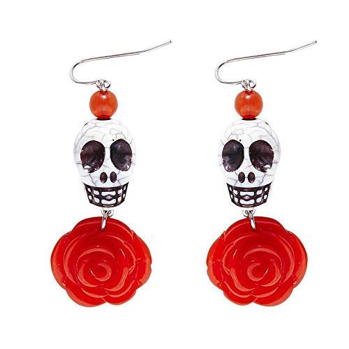 Lively Moments Ohrringe / Ohrschmuck Dia de los Muertos / weißer Totenkopf mit roter Rose / Tag der Toten Halloween Kostüm - Tag Der Toten Kostüm Zubehör
