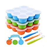 Baby Food Freezer Containers,Silicone Food Storage Trays with Clip-On Lids +Spoon-9x2.5OZ BPA Free Dishwasher Safe for Homemade Baby Food-(Orange)