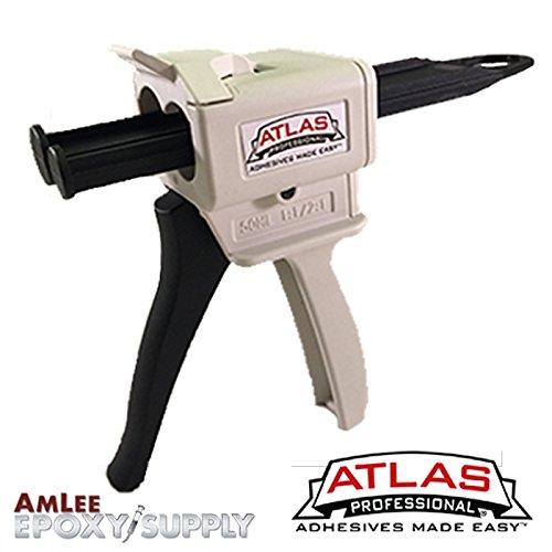 Atlas Professional kleckereien Gun Kit für 50ml Epoxy & Klebstoff Patronen (1: 1und 2: 1Verhältnis), 50ml (1.7 oz), weiß/schwarz, 2